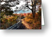Wood Fences Greeting Cards - A Fence-lined Path Leads To A Mountain Greeting Card by Amy White & Al Petteway