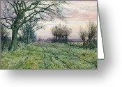 Watercolor On Paper Greeting Cards - A Fenland Lane with Pollarded Willows Greeting Card by William Fraser Garden