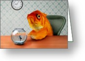 Clock Greeting Cards - A Fish Out Of Water Greeting Card by Carrie Jackson
