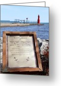 Beauty Mark Greeting Cards - A Fishermans Prayer at Algoma Lighthouse Greeting Card by Mark J Seefeldt