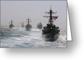 Cole Greeting Cards - A Fleet Of Ships In Formation At Sea Greeting Card by Stocktrek Images