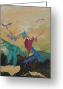 Dragons Greeting Cards - A Flight of Dragons Greeting Card by Gail Daley