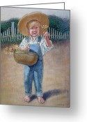 Overalls Greeting Cards - A Flower for You Greeting Card by Sue Halstenberg