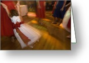 Bridesmaid Greeting Cards - A Flower Girl Dances With The Wedding Greeting Card by Joel Sartore
