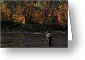 Autumn Scenes Greeting Cards - A Fly-fisherman Lays Out A Perfect Cast Greeting Card by Paul Nicklen