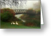 Landscape Framed Prints Greeting Cards - A Foggy Morning Greeting Card by Thomas York