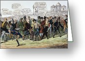 Democratic Party Greeting Cards - A Foot Race: Cartoon, 1824 Greeting Card by Granger
