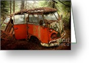 Deluxe Greeting Cards - A Forgotten 23 Window VW Bus  Greeting Card by Michael David Sorensen