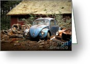 Old Volkswagen Car Greeting Cards - A Forgotten 67 Bug Greeting Card by Michael David Sorensen