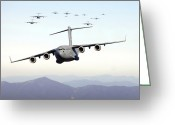 Large Group Greeting Cards - A Formation Of 17 C-17 Globemaster Iiis Greeting Card by Stocktrek Images