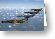 Fighter Jets Greeting Cards - A Formation Of F-4 Phantom Ii Fighter Greeting Card by Stocktrek Images
