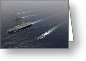 Guided Missile Destroyers Greeting Cards - A Formation Of Ships Traveling At Sea Greeting Card by Stocktrek Images