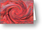 Whirls Greeting Cards - A Fractual Whirl Of Red  Greeting Card by Jeff  Swan