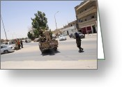 Nato Greeting Cards - A Free Libyan Army Pickup Truck Greeting Card by Andrew Chittock