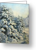 Color Greeting Cards - A frosty morning Greeting Card by Tigran Ghulyan