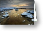 Ice Floes Greeting Cards - A Frozen, Rusty Bay On Andoya Island Greeting Card by Arild Heitmann
