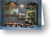 Displays Greeting Cards - A Fruit And Vegetable Shop In Siena Greeting Card by Taylor S. Kennedy