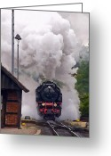 Railroad Tracks Greeting Cards - A Full Head of Steam Greeting Card by Michael Pickett