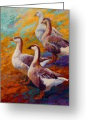Rooster Painting Greeting Cards - A Gaggle Of Four - Geese Greeting Card by Marion Rose