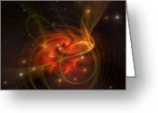 Twinkle Greeting Cards - A Galaxy Out In Space Has Reddish Greeting Card by Corey Ford