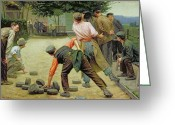 Signed Greeting Cards - A Game of Bourles in Flanders Greeting Card by Remy Cogghe
