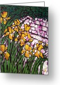 Color Tapestries - Textiles Greeting Cards - A Garden of Irises Batik Greeting Card by Kristine Allphin