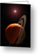 Red Dwarfs Greeting Cards - A Gas Giant Planet Orbiting A Red Dwarf Greeting Card by Stocktrek Images
