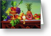 Dominica Alcantara Greeting Cards - A Gathering of Fruits  Greeting Card by Dominica Alcantara