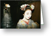 Kansai Triangle Greeting Cards - A Geisha In Traditional Costume Walks Greeting Card by Paul Chesley