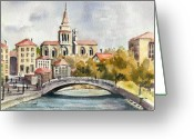 Europe Painting Greeting Cards - A German Memory Greeting Card by Sam Sidders