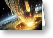 Cataclysm Greeting Cards - A Giant Asteroid Collides Greeting Card by Tobias Roetsch