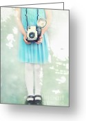 Pretending Greeting Cards - A Girl and Her Camera Greeting Card by Stephanie Frey