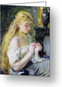 Shoulder Painting Greeting Cards - A Girl Crocheting Greeting Card by Pierre Auguste Renoir