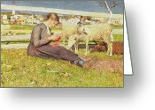 Lambing Greeting Cards - A Girl Knitting Greeting Card by Giovanni Segantini