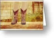 Cowgirl Prints Greeting Cards - A Girl With Boots Greeting Card by Kathy Jennings