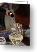 Pouring Greeting Cards - A Glass Of White Wine Being Poured Greeting Card by Taylor S. Kennedy
