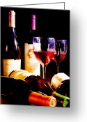 Wine Art Digital Art Greeting Cards - A Glass of Wine Greeting Card by Susan Stone