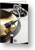 Arts Culture And Entertainment Greeting Cards - A Gold Record On A Turntable Greeting Card by Caspar Benson