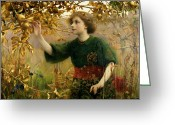 Rosy Greeting Cards - A Golden Dream Greeting Card by Thomas Cooper Gotch