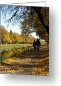 Nymphenburg Greeting Cards - A Golden Walk Greeting Card by Paul Roger Ballard