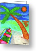 Tropical Island Pastels Greeting Cards - A Good Day Greeting Card by William Depaula