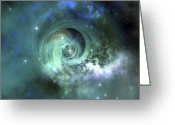 Image Digital Art Greeting Cards - A Gorgeous Nebula In Outer Space Greeting Card by Corey Ford