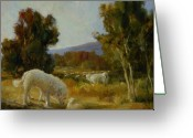 Morning Light Greeting Cards - A Great Pyrenees with a Lamb Greeting Card by Lilli Pell