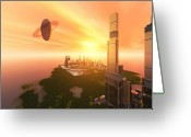 Cityscape Digital Art Greeting Cards - A Great Vision Greeting Card by Corey Ford