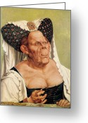 Headdress Greeting Cards - A Grotesque Old Woman Greeting Card by Quentin Massys