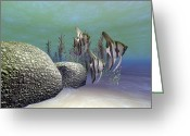 Sea Life Digital Art Greeting Cards - A Group Of Angelfish Swim Near A Rock Greeting Card by Corey Ford