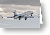 Taking Off Greeting Cards - A Gulfstream G550 Eitam Of The Israeli Greeting Card by Giovanni Colla