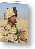 Transceiver Greeting Cards - A Gurkha Commander Communicates Greeting Card by Andrew Chittock