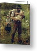 Caring Greeting Cards - A Heavy Burden Greeting Card by Arthur Hacker