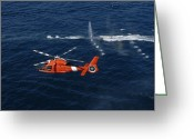 Law Enforcement Greeting Cards - A Helicopter Crew Trains Off The Coast Greeting Card by Stocktrek Images